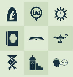 Holiday icons set with namaz room oil beg and vector