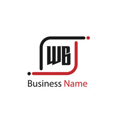initial letter wb logo template design vector image