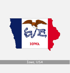iowa usa map flag vector image