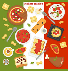 italian cuisine pizza and pasta italy food dishes vector image