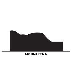 Italy mount etna city skyline isolated vector