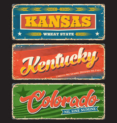 kentucky kansas and colorado usa state old plates vector image