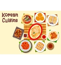 Korean cuisine main dishes and dessert icon vector