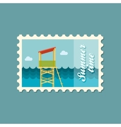 Lifeguard tower flat stamp vector