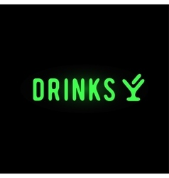 Light neon drinks label vector image vector image