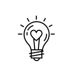 Lightbulb idea love icon feelings thin vector