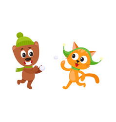 Little cat and bear characters playing snowballs vector