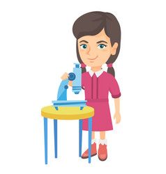 little caucasian schoolgirl using a microscope vector image