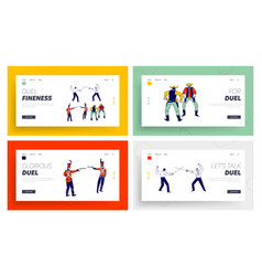Male characters fighting on duel landing page vector
