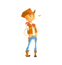 Man dressed as cowboy with a straw in his mouth vector