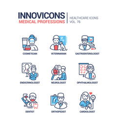 Medical professions line design style icons set vector