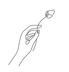 Modern fashion linear human hand holding flower vector