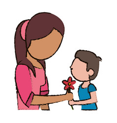 Mother and son with flower vector