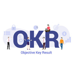 Okr objective key result concept with big word or vector