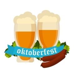 Oktoberfest celebration background with two vector image