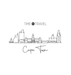 one single line drawing cape town city skyline vector image