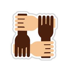 Paper sticker on white background hands vector