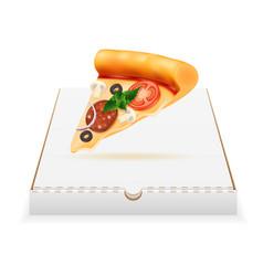 pizza in cardboard box stock vector image