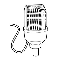 retro microphone icon outline style vector image
