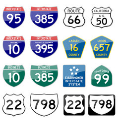 Road sign glossy set road sign glossy vector