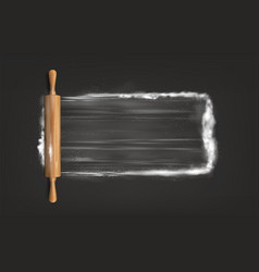Rolling pin on table with flour vector