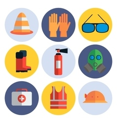 Safety equipment flat icon set vector