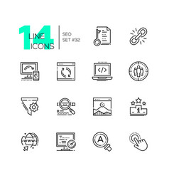 seo - set of line design style icons vector image