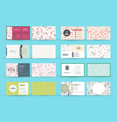 Set double-sided horizontal business card vector