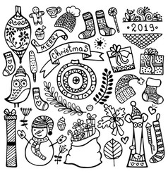 set of cute hand-drawn christmas elements vector image