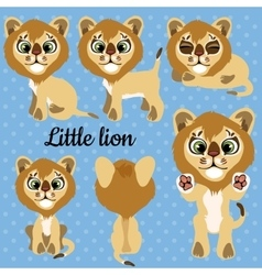 Set of emotions a little lion on a blue background vector