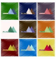 Set of flat icons in shading style mountain train vector