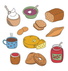 set of pied doodle food icons in flat style vector image