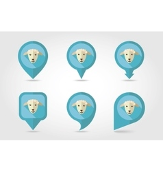 Sheep mapping pins icons vector