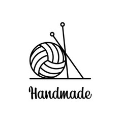 sign line art ball yarn with knitting tools vector image