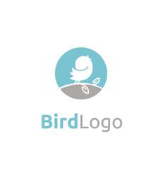Singing baby canary bird tweet on branch leaf logo vector