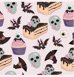 Skull sweets halloween seamless pattern vector