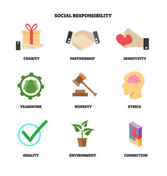 Social responsibility flat icon collection vector