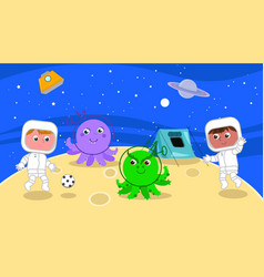 Spacemen playing soccer with cartoon aliens vector