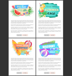 Summer big sale banners online web pages vector