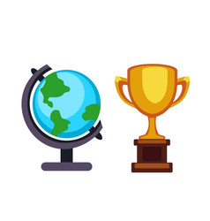 Trophy champion cup and earth globe flat vector