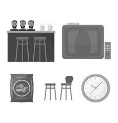 Tv bar counter chairs and armchairs potato vector