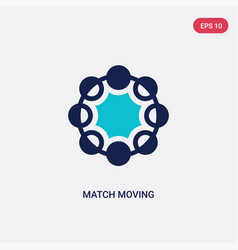 Two color match moving icon from artificial vector