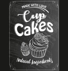 Vintage cakes with cream poster design on chalk vector