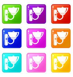 Wall lamp icons 9 set vector