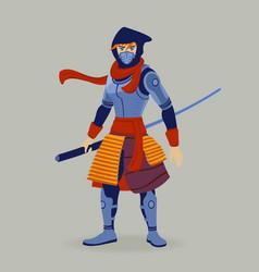 warrior attacks asian cartoon style vector image