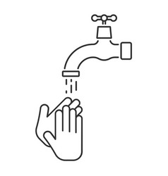 washing hands under falling water from water tap vector image