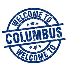 Welcome to columbus blue stamp vector