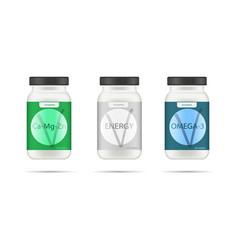 white matte plastic bottle with black lid for vector image