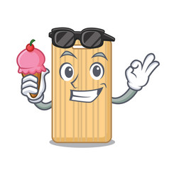 With ice cream wooden cutting board character vector