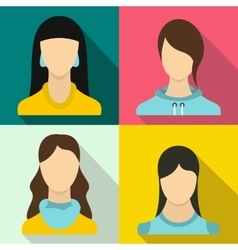 Woman banners set flat style vector image